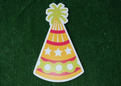 Birthday orange pink lime party hat yard sign