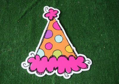 Birthday orange polka dot party hat yard sign