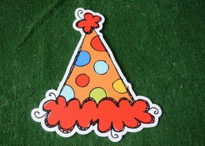 Birthday orange red polka dot party hat yard sign