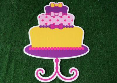 Birthday pink yellow cake yard sign