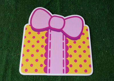 Birthday pink yellow polka dot present yard sign
