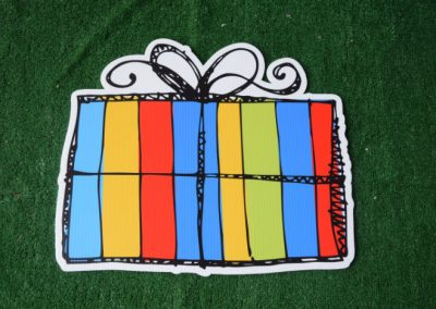 Birthday primary color striped present yard sign