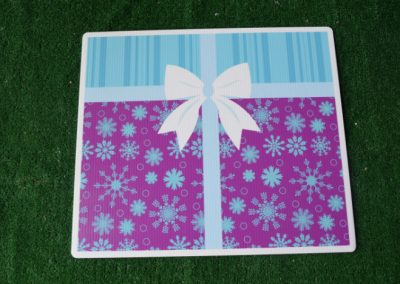 Birthday purple blue present snowflakes yard sign