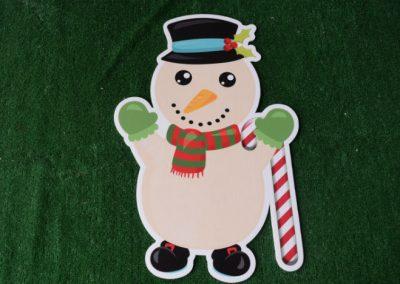 Christmas boy snow man yard sign