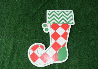 Christmas diamond shape stocking yard sign