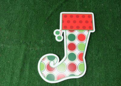 Christmas polka dot stocking yard sign