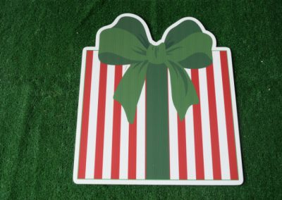 Christmas red striped present yard sign