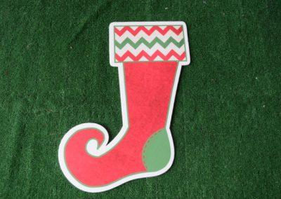 Christmas red zig zag stocking yard sign