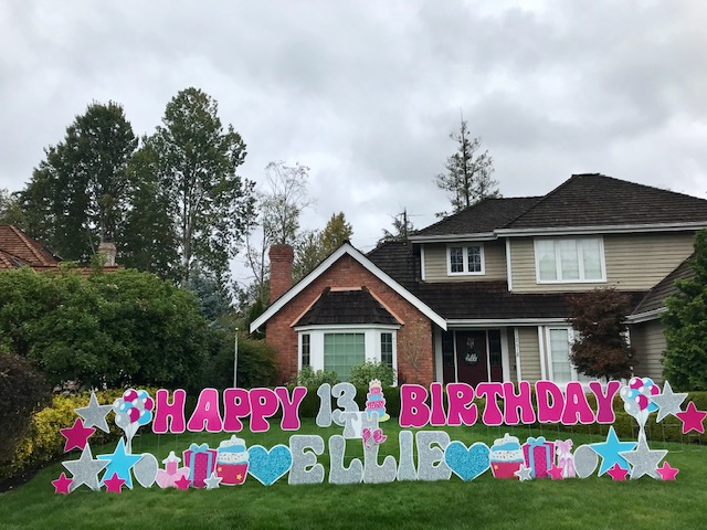 Yard Announcements is Spreading Smiles Around Town with Huge Bright Colored Birthday Yard Signs and Other Fun Yard Displays