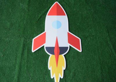 Space rocket ship yard sign