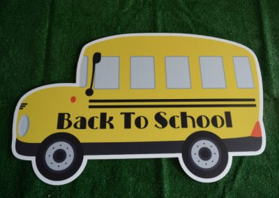 back to school bus yard sign