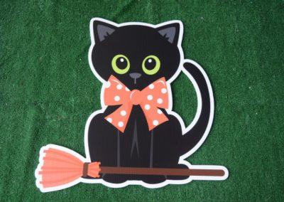 black cat halloween yard sign