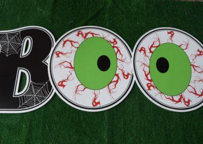 black spiderweb B with eyeballs BOO yard signs
