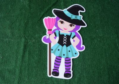 girl witch halloween yard sign