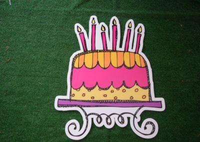 girls pink yellow purple birthday cake yard sign