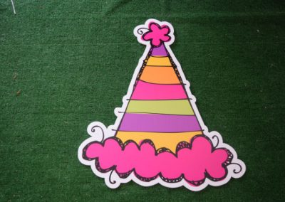 girls striped party hat yard sign