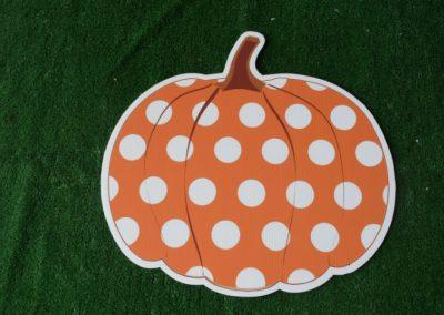orange polka dot pumpkin yard signs
