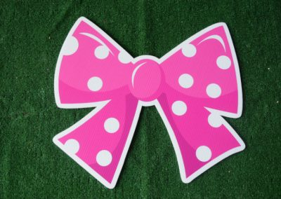 pink polka dot bow yard sign