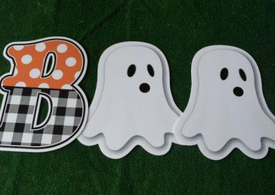 plaid polka dot orange black B with ghosts BOO yard signs