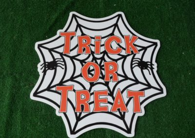 spider web trick or treat yard sign