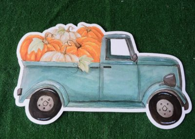 truck with pumpkins fall yard sign