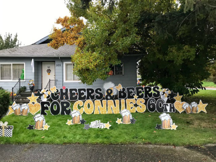 Yard Announcements Brings the Party to the Yard with our Birthday Yard Signs for Milestone Birthdays like the 40th, 50th, and 60th!