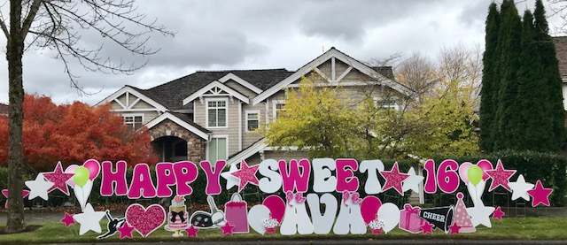 Celebrate your Sweet 16 Birthday in a BIG Way with Birthday Yard Signs by Yard Announcements!