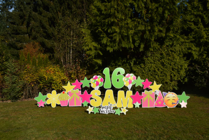 Yard Announcements can help you Party BIG with our FUN Birthday Yard Signs