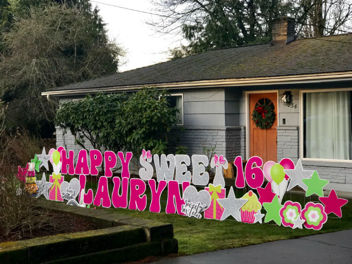 Birthday Yard Signs by Yard Announcements Make Sweet Party Decorations! Celebrate the Sweet 16 Birthday in a BIG Way!