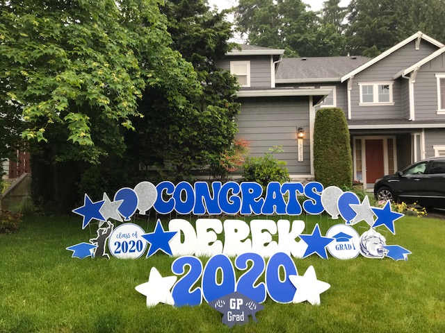 Looking for a FUN Way to Celebrate your 2021 Grad during the Pandemic? Graduation Yard Signs by Yard Announcements will make them Smile!
