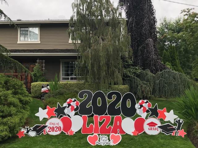 Yard Announcement's 2021 Graduation Yard Sign Displays Make FUN Graduation Parade Decorations or Grad Party Decor!