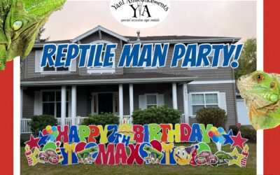 It's a Reptile Party Theme with a Visit from the Reptile Man and Signs by Yard Announcements – How Fun!!!